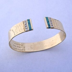 14-Karat-Yellow-Gold-Bracelet-with-Diamonds-and-Turquoise-by-Southwest-Originals-505-363-7150-300x300