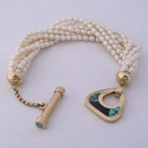 Fresh-Water-Pearl-Bracelet-with-Gold-Clasp-with-Inlay-Turquoise-by-Southwest-Originals-505-363-7150-300x300