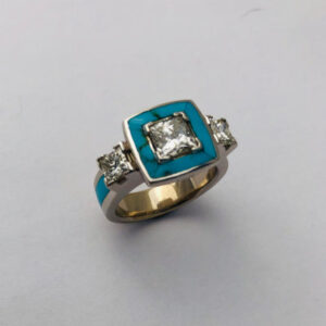 Ring with Princess cut Diamonds and Turquoise inlay by Southwest Originals 505-363-7150