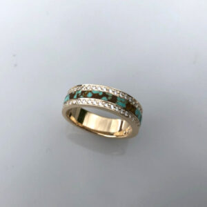 Ring with Round Diamonds and Turquoise inlay by Southwest Originals