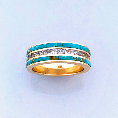 Gold, Diamond, and Turquoise Wedding Band