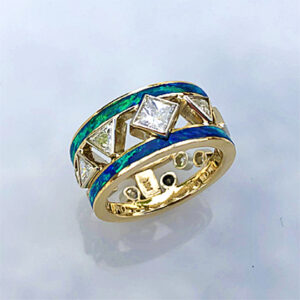 14 karat yellow and white gold ring with Diamonds and Opal inlay #G0163