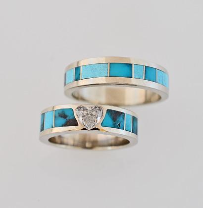 14-Karat-White-Gold-Heart-Shape-Diamond-and-Bisbee-Turquoise-Wedding-Set