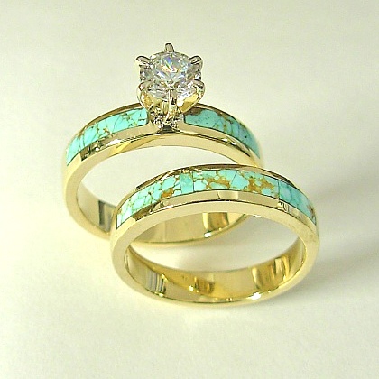 Gold, Diamond, and Turquoise wedding rings