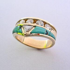 Gold-Diamond-and-Turquoise-Wedding-Band-300x300 #G0142