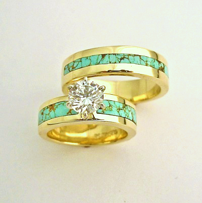 Turquoise and Diamond Wedding Set