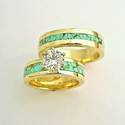 Turquoise and Diamond Wedding Set