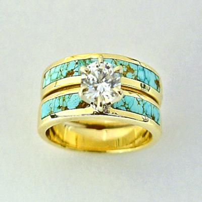 Turquoise and Diamond Wedding Set 2