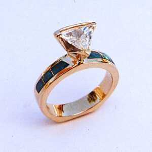 Triangle Diamond Engagement Ring with Turquoise Inlay #G0056