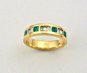 Gold Turquoise and Diamond Band #G0065