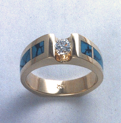 Gold, Diamond, and Turquoise Engagement Ring