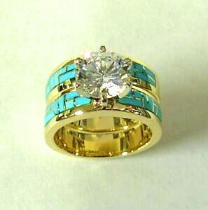 Gold and Turquoise Engagement / Wedding Set