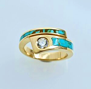 Diamond and Turquoise Bypass Ring #SWE0014 by Southwest Originals 505-363-7150
