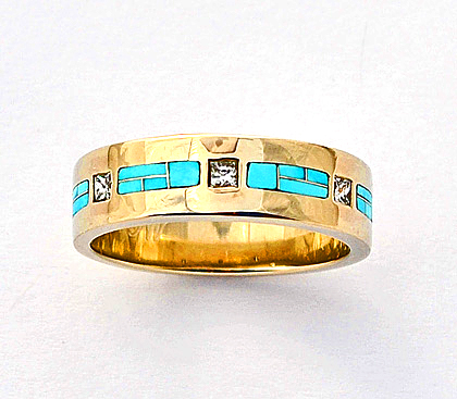 Diamond-and-Turquoise-Wedding-Band