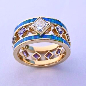 Gold, Diamond, Purple Sapphire, and Opal Ring #SWE0009 by Southwest Originals 505-363-7150