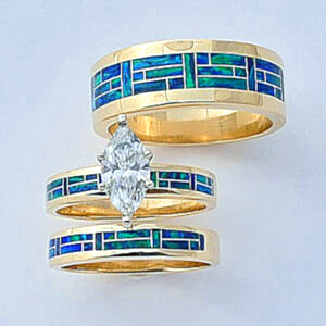 Gold, Diamond, and Cultured Opal Wedding Trio Set #SWE0010 by Southwest Originals 505-363-7150