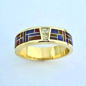 Gold, Diamond, Sugilite, and Lapis Wedding Band