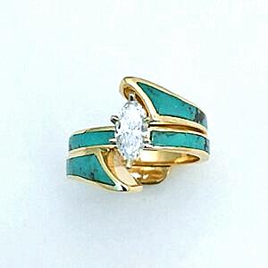 Gold, Diamond and Turquoise Wedding Guard Set #SWE0006 Southwest Originals 505-363-7150
