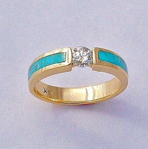 Gold, Diamond, and Turquoise Ring #SWE0059