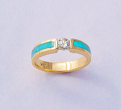 Gold, Diamond, and Turquoise Ring. #SWE0059