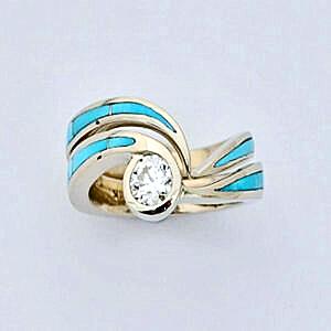 Turquoise Engagement Wedding Set by Southwest Originals 505-363-7150 #SWE0004