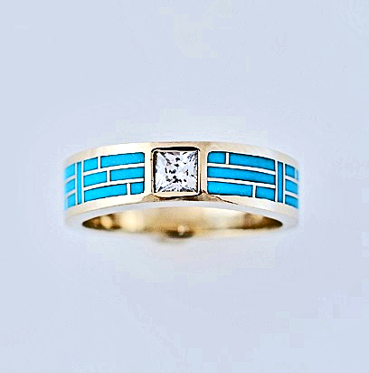 Gold-Diamond-and-Turquoise-Wedding-Band