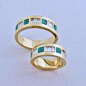 Gold Diamond and Turquoise Wedding Bands #SWE0019 by Southwest Originals 505-363-7150