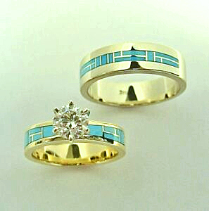 Mens and ladies 14 karat yellow gold wedding set by Southwest Originals 505-363-7150