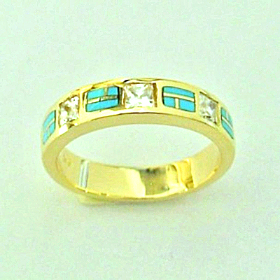 #SWE0016 Gold, Diamonds, and Turquoise Wedding Band by Southwest Originals 505-363-7150