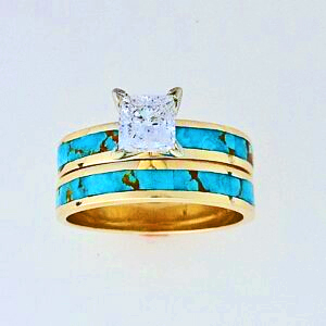 Gold-Princess-Cut-Diamond-and-Turquoise-Wedding-Set (1)