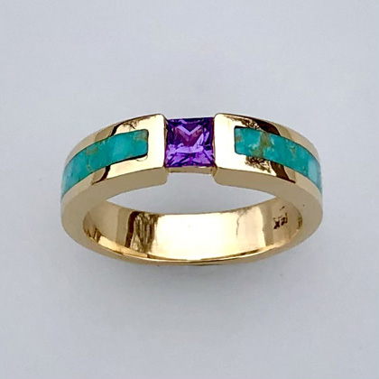 Gold, Purple Sapphire and Turquoise RIng #SWE0025