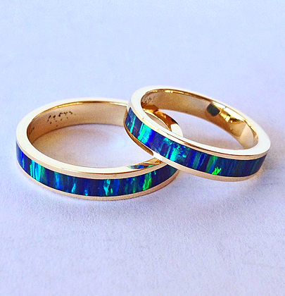 Gold and Cultured Opal Inlay Wedding Set #SWE0019 by Southwest Originals 505-363-7150