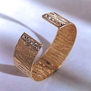 Gold and Diamond Cuff Bracelet with a Bark Texture