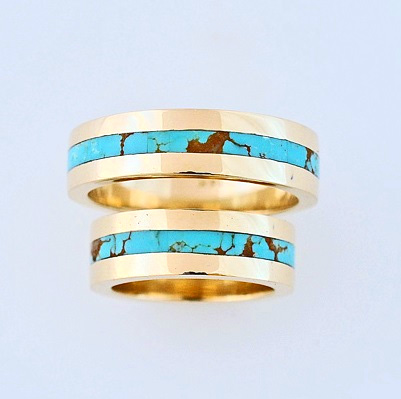 Gold and Turquoise Wedding Bands #SWE0008 by Southwest Originals 505-363-7150