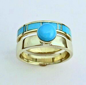 Gold and Turquoise Wedding Set #SWE0017 by Southwest Originals 505-363-7150