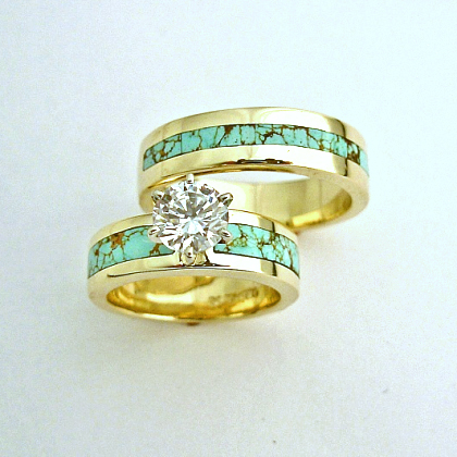 Gold, Turquoise and Diamond Wedding Set #SWE0001