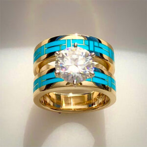 14 karat yellow gold wedding set with a 3 carat Diamond Center Stone and Turquoise Inlay.