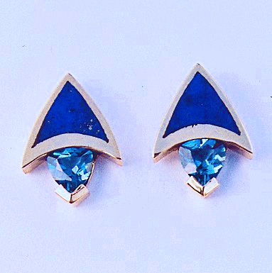 Gold, Blue Topaz, and Lapis Earrings #SWG0012 Call 505-363-7150