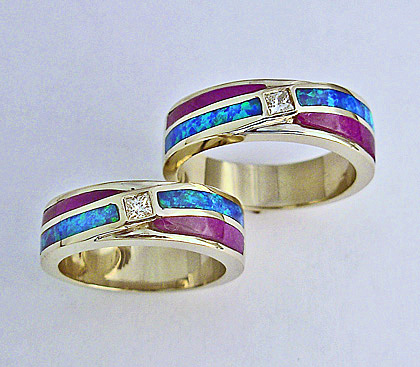 Gold, Diamond, Opal, and Sugilite Wedding Set #SWE0027