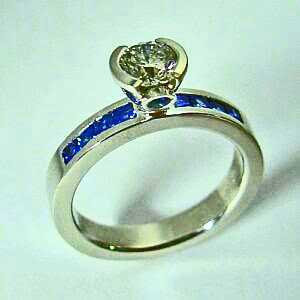 Gold, Diamond, and Sapphire Engagement Ring #SWE0030