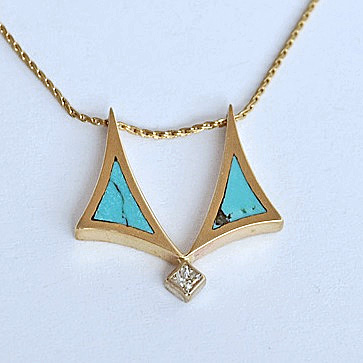 Gold, Diamond, and Turquoise Pendant Slide #SWGP0014