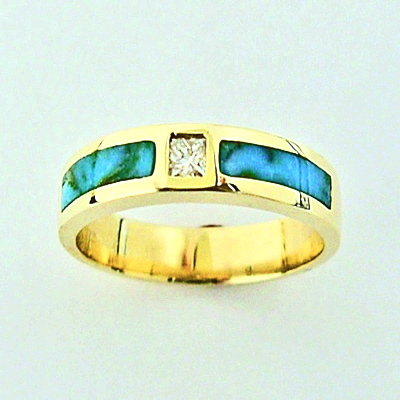 Gold Diamond and Turquoise wedding bands