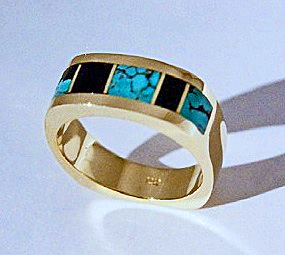 Yellow gold men's ring with Turquoise and Black Jade Inlay.  #SMGR0001