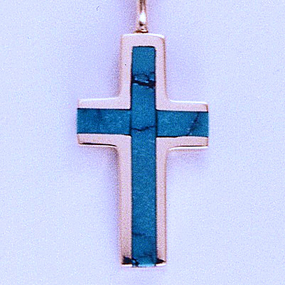 Gold and Turquoise Cross Pendant #SWGP0012