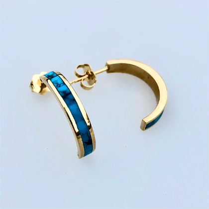 Yellow Gold and Turquoise half hoop Earrings