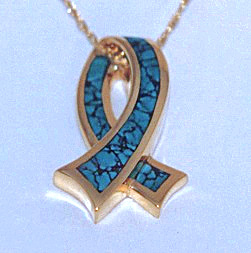 Gold and Turquoise Ribbon Pendant #SWGP0016