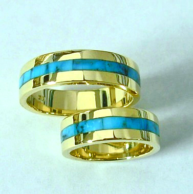 Gold and Turquoise Wedding Bands