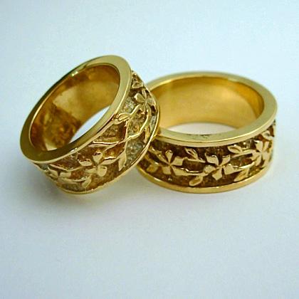 14 karat yellow gold Plumeria Wedding Rings Bands  #SWGR0019