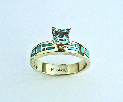 White Gold Engagement Ring with Turquoise and Aquamarine  SWE0024