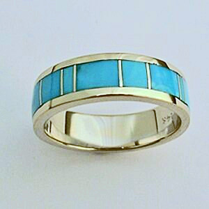 White gold and Turquoise men's wedding band #SMGR0004